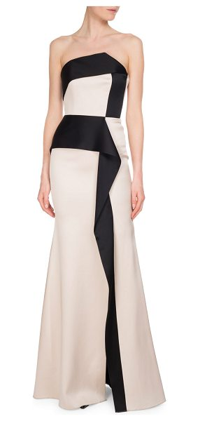"""Roland Mouret Addover Strapless Two-Tone Peplum Evening Gown in pink/black - Roland Mouret """"Addover"""" evening gown in double-face silk..."""