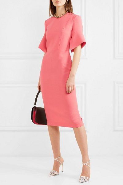 Roland Mouret bancroft wool-crepe midi dress in peach
