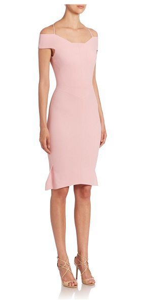 Roland Mouret beatrix stretch dress in light rose - Pleated details accent this off the shoulder design. Off...