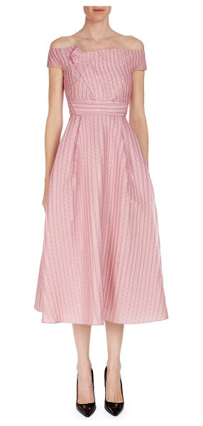 "Roland Mouret Bentham Off-the-Shoulder Tea-Length Dress in rose - EXCLUSIVELY AT NEIMAN MARCUS Roland Mouret ""Bentham""..."