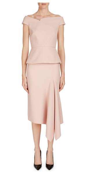 "Roland Mouret Elmswell Off-the-Shoulder Cap-Sleeve Peplum Top in light pink - Roland Mouret ""Elmswell"" top with peplum. Asymmetric..."