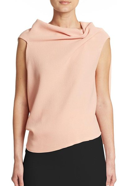 Roland Mouret Eugene draped wool top in lightpink - Origami-like folds form the draped silhouette of this...