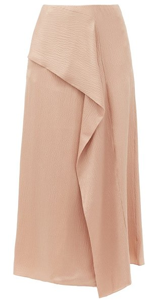 Roland Mouret falun draped hammered-silk skirt in nude