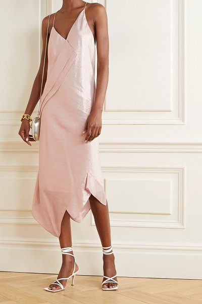 Roland Mouret jimboy asymmetric silk-blend lurex midi dress in blush