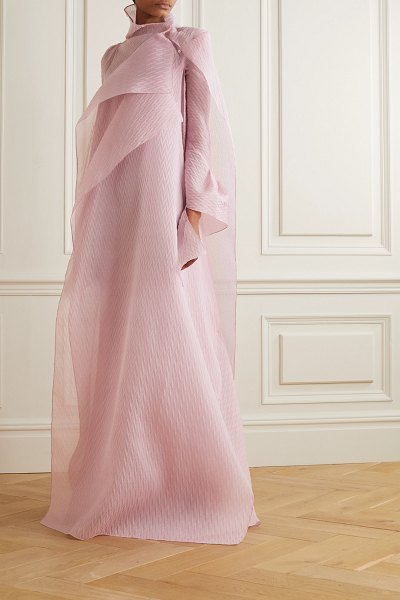 Roland Mouret panska draped cape-effect silk-blend organza-jacquard gown in blush