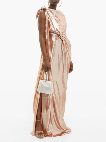 Roland Mouret silvabella gathered silk blend lamé gown in rose gold