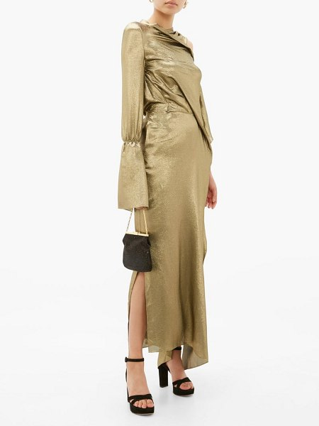 Roland Mouret solera asymmetric silk-blend lamé gown in gold