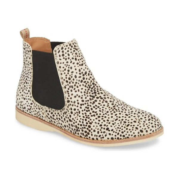 Rollie genuine calf hair chelsea bootie in snow leopard calf hair