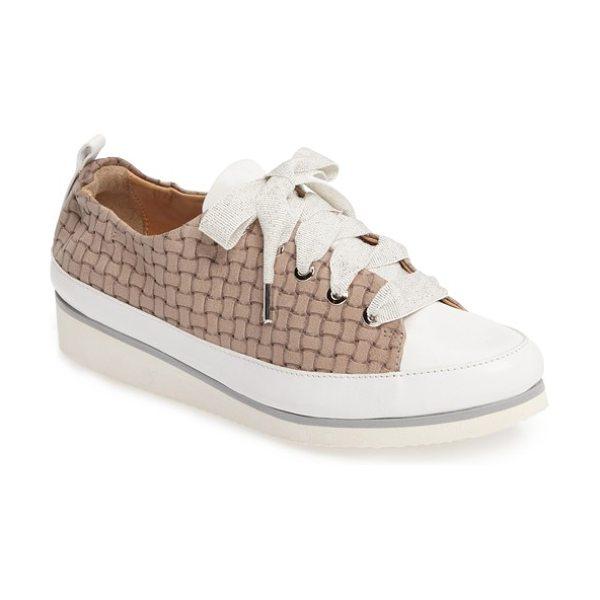 Ron White nova sneaker in fawn leather - Shimmery grosgrain ribbon laces bring girly charm to a...
