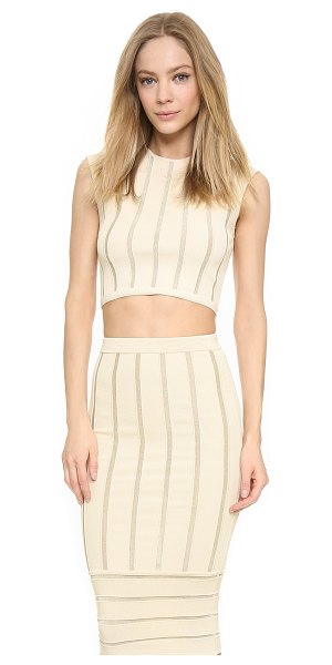 Ronny Kobo Kimberly metallic stripe crop top in bone - Metallic stripes bring subtle shine to this Torn by...