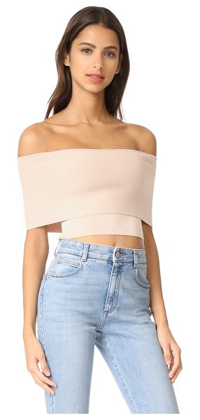 Ronny Kobo maarit crop top in stone - This off-shoulder Ronny Kobo crop top has a sleek,...