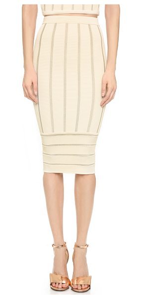 Ronny Kobo Molly metallic stripe skirt in bone - Metallic stripes bring subtle shine to this Ronny Kobo...