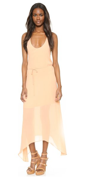 Rory Beca castanets dress in band aid pink - A minimalist Rory Beca dress with a handkerchief hem....
