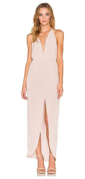 Rory Beca Fever Dress in blush - 100% poly. Dry clean only. Unlined. Halter neck with tie...