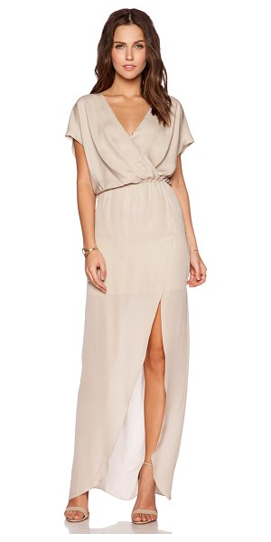 Rory Beca Maid by yifat oren plaza gown in taupe - Silk blend. Dry clean only. Partially lined. Wrap front...