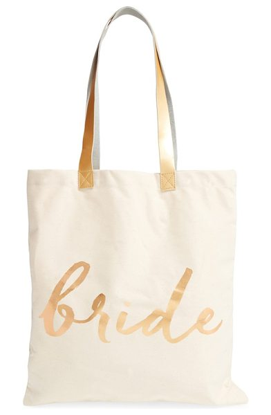Rosanna 'bride' canvas tote in white/ gold - Elegant script and goldtone accents make this canvas...