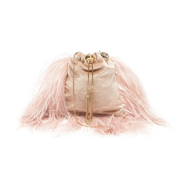 ROSANTICA BY MICHELA PANERO mademoiselle feathered velvet cross-body bag in dusty pink