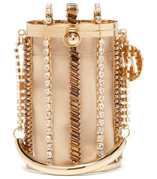 ROSANTICA BY MICHELA PANERO mercury crystal embellished cage clutch bag in gold