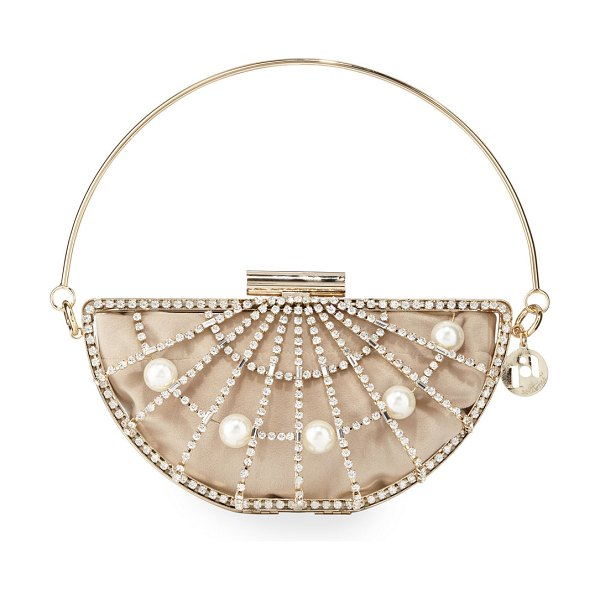 Rosantica Half Moon Pearly Cage Clutch Bag in gold