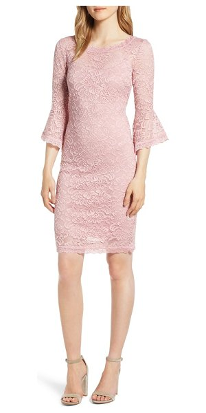 ROSEMUNDE lace bell sleeve dress in pink