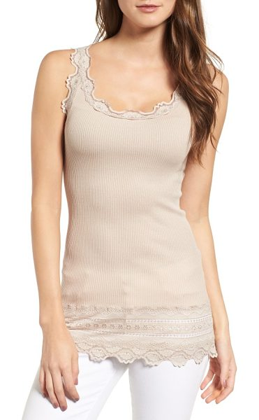 ROSEMUNDE silk & cotton rib knit tank in cacao - Delicately scalloped lace frames the edges of a luxe...