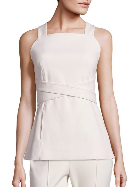 ROSETTA GETTY Apron wrap top in pearl - Solid apron top with chic crisscross straps. Squareneck....