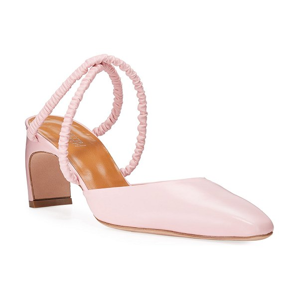ROSETTA GETTY Ballerina-Point Ruched Leather Mules in pink