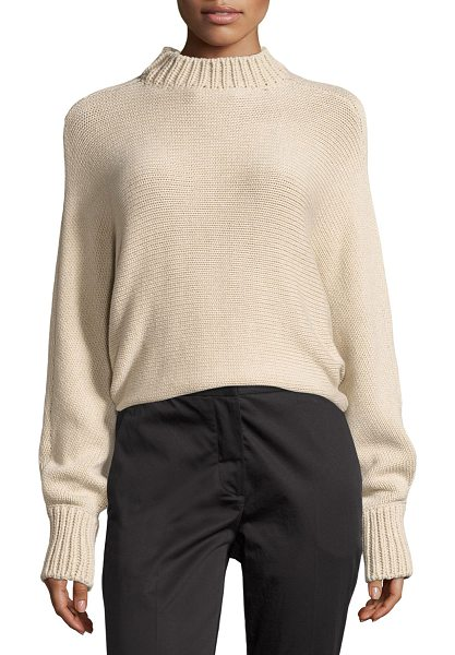 ROSETTA GETTY Cropped Mock-Neck Oversized Sweater in beige - Rosetta Getty sweater with ribbed collar and cuffs. Mock...