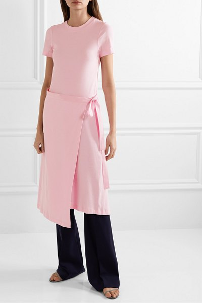 ROSETTA GETTY draped canvas-trimmed cotton-jersey tunic in baby pink