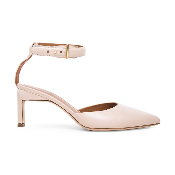 ROSETTA GETTY Leather Pointed Mid Heels in blush - Leather upper and sole. Made in Italy. Approx 65mm/ 2.5...