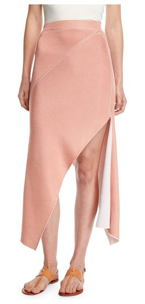 ROSETTA GETTY Reversible Pinwheel Midi Skirt in white/pink - Rosetta Getty pinwheel skirt in reversible double-knit....