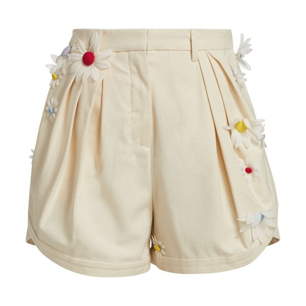 Rosie Assoulin easy pleated floral shorts in sand