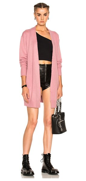 RtA Serge Cardigan in rose - 100% cashmere. Made in China. Dry clean only. Knit...