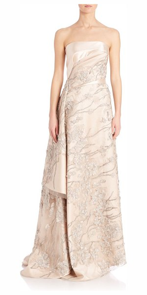 Rubin Singer Applique embellished silk & wool a-line gown in taupe - Asymmetrical draped lace overlay on embellished gown....
