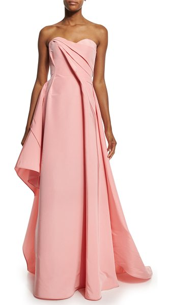"Rubin Singer Strapless Sweetheart-Neck Draped Gown in pink - Rubin Singer silk faille gown. Approx. 56.5""L down..."