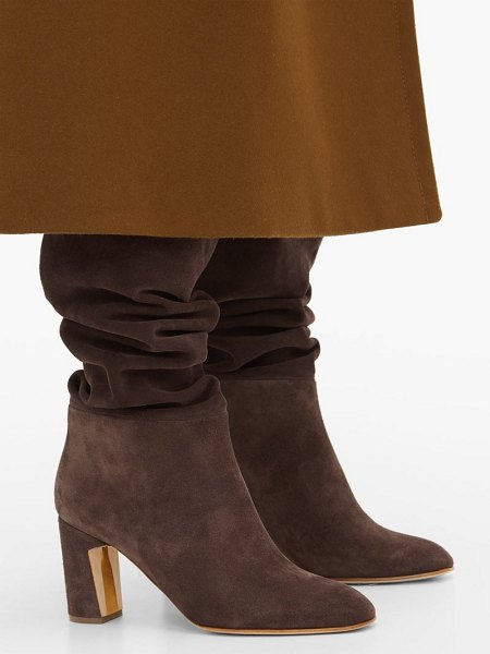 Rupert Sanderson au revoir slouched suede knee-high boots in dark brown