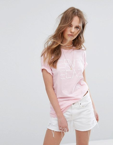 """RVCA Boyfriend T-Shirt With Wavy Graphic in pink - """"""""T-shirt by RVCA, Soft-touch jersey, Crew neck, Printed..."""