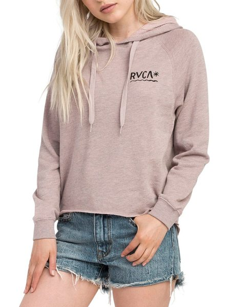 RVCA glance hoodie in mauve - The raw hem on this comfy graphic hoodie is just...