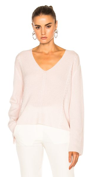 RYAN ROCHE for FWRD V Neck Knit Sweater in champagne pink - 100% cashmere. Made in Nepal. Dry clean only. Knit...