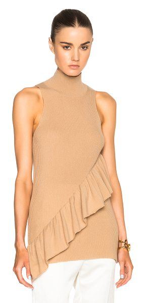RYAN ROCHE Ruffled cashmere top in neutrals - 100% cashmere.  Made in Nepal.  Rib knit fabric.  Ruffled trim.