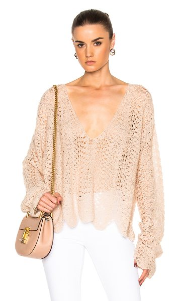 RYAN ROCHE V Neck Open Crochet Sweater in neutrals - 100% cashmere.  Made in Nepal.  Dry clean only.  Knit fabric.
