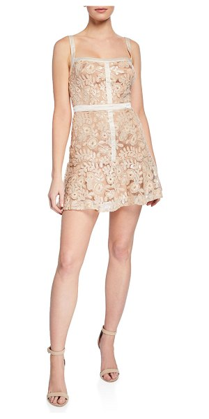 Ryse Mila Sequined Embroidered Mini Dress in blush