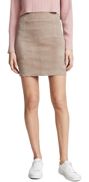 Sablyn lisa skirt in taupe - Leather: Lambskin Pencil skirt Mini dress cut Exposed...