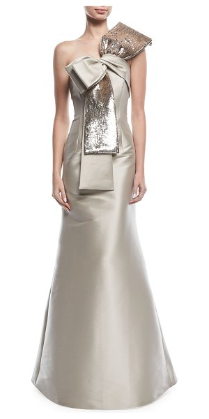 Sachin Babi Barrie Asymmetric Sequined Bow Gown Nudevotion
