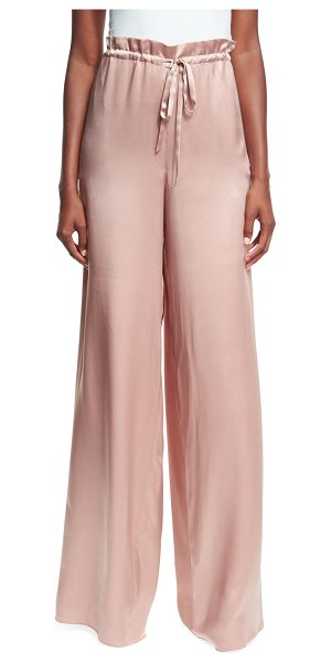 "Sachin & Babi Rao High-Waist Drawstring Wide-Leg Satin Pants in blush - Sachin & Babi ""Rao"" silk satin pants. approx. 62""..."