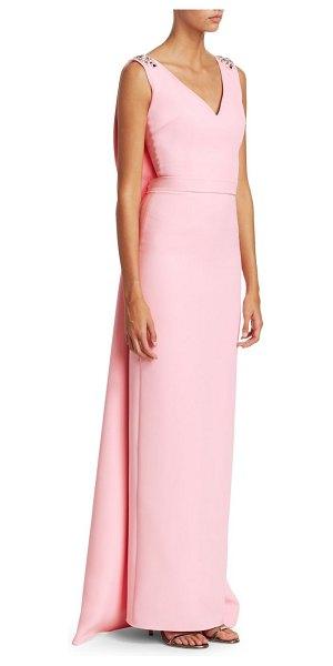 Safiyaa embroidered v-neck cape column gown in pale pink - Minimalist column gown flaunts a sweeping cape and...