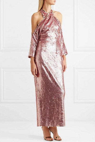 Safiyaa sequined crepe halterneck midi dress in pink