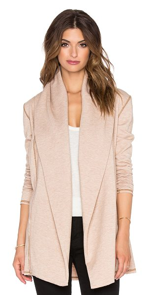 SAINT GRACE Hooded cardigan in tan - 62.5% poly 33.5% rayon 4% lycra. Open front. Attached...