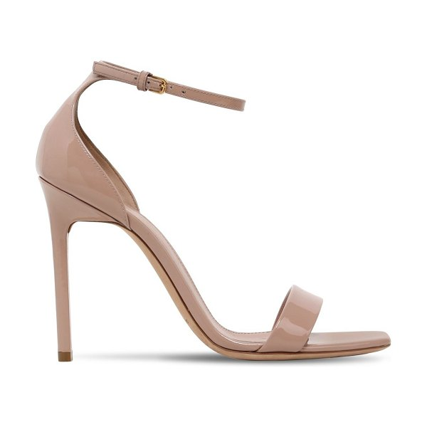 Saint Laurent 105mm amber patent leather sandals in nude