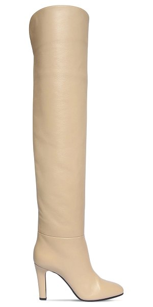 Saint Laurent 90mm jane leather over-the-knee boots in beige